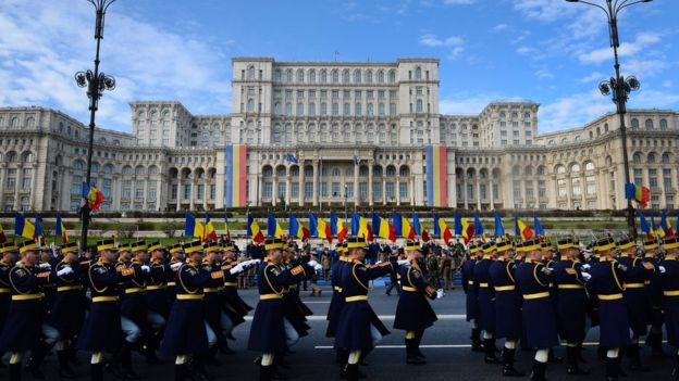 Military Parade in front of Romanian Parliament Palace